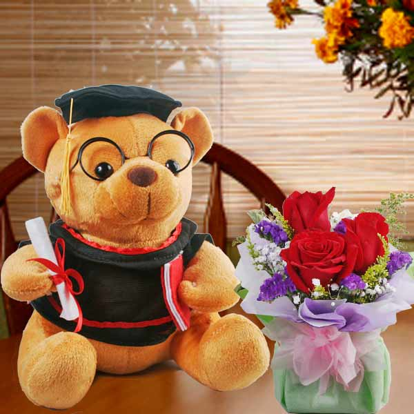 Graduation Bear And Roses