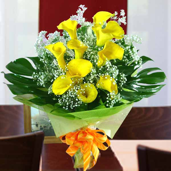 Yellow Calla Lily Hand Bouquet