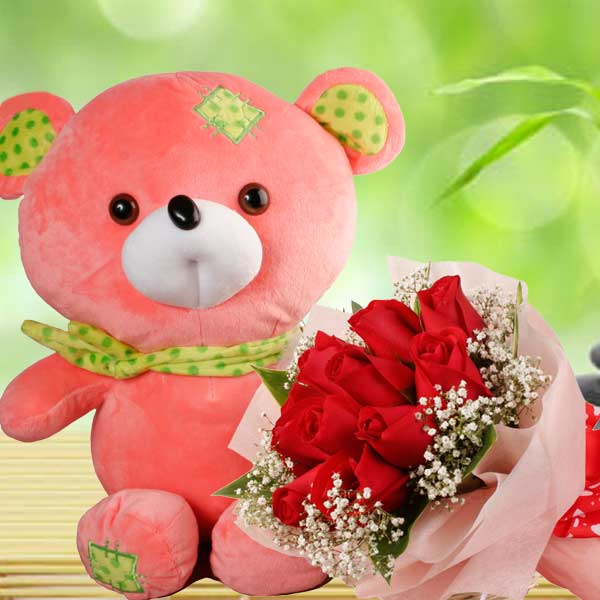 Scarfed Bear & Red Roses Hand Bouquet